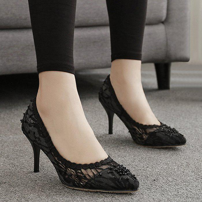 Perforation en dentelle Pointe Toe Pumps - Noir 39
