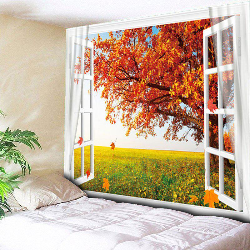 Window Maple Tree Print Wall Hanging Tapestry