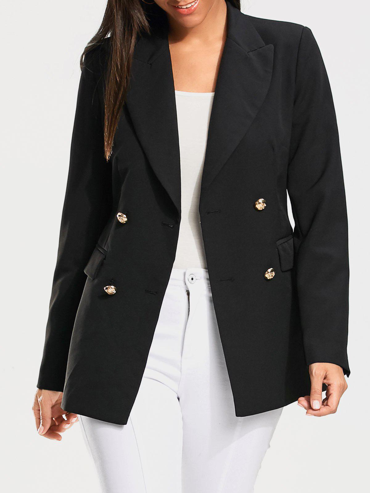 Casual Double Breasted Plain Blazer - BLACK S