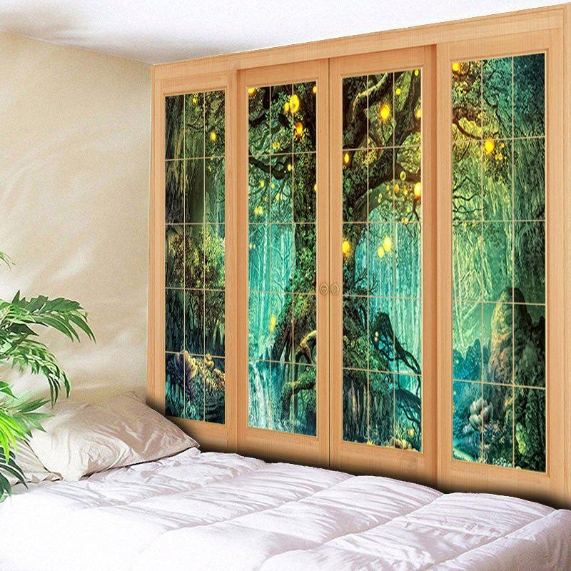 Wall Art Window Tree Print Tapestry - Vert W59 INCH * L51 INCH