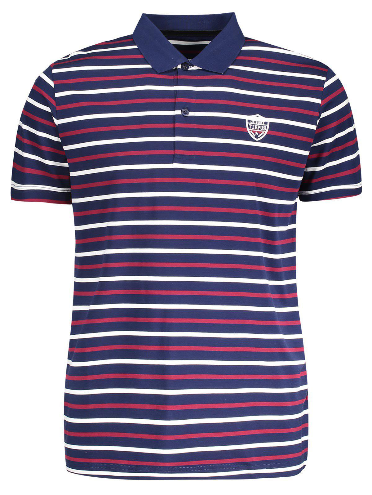 Stripe Mens Polo Shirt - PURPLISH BLUE M