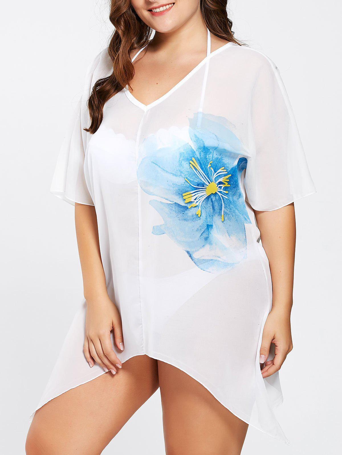 Plus Size Asymmetric Flower Tunic Cover-Up - WHITE ONE SIZE
