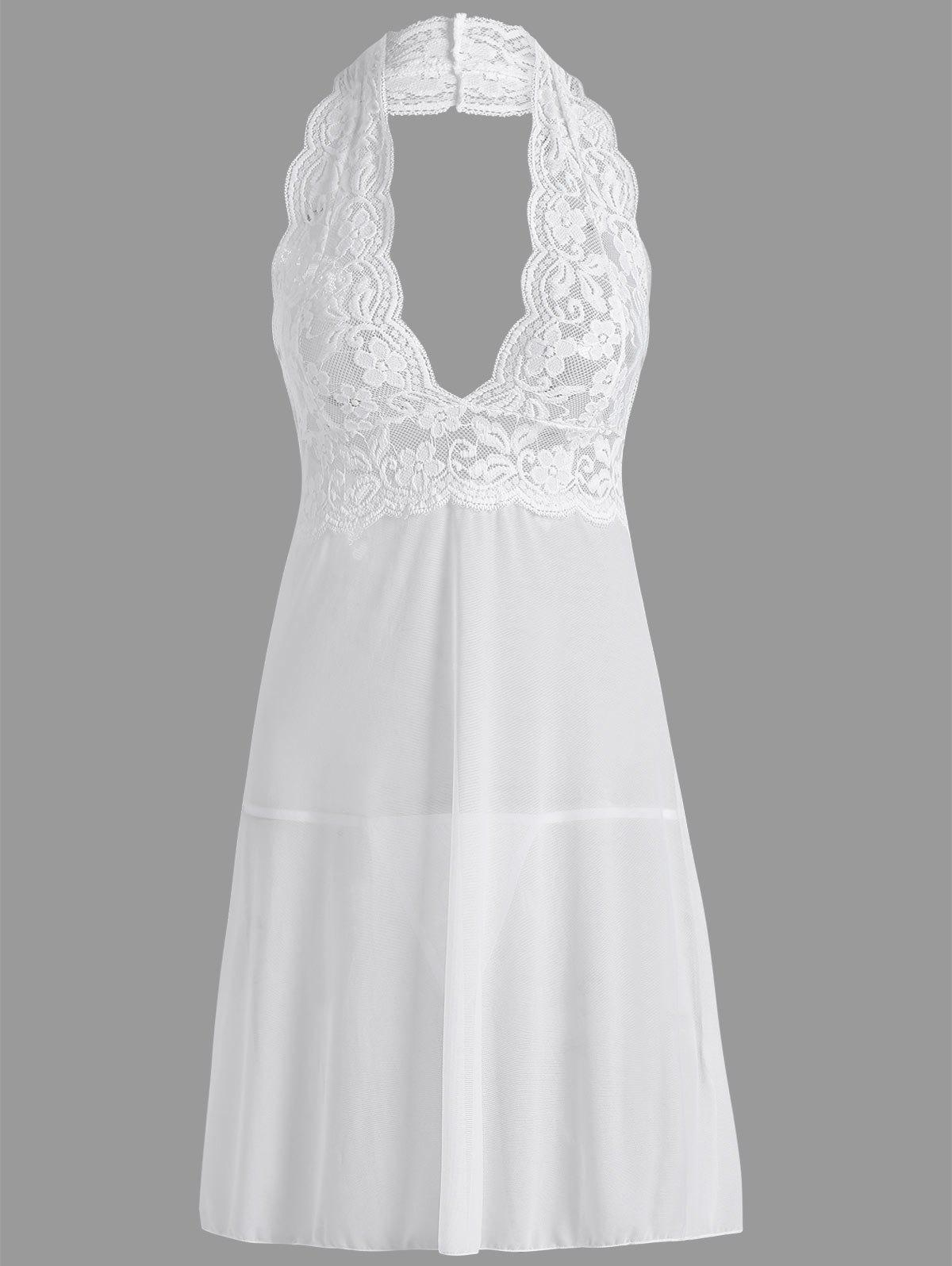 Plunge Halter Lace Sheer Babydoll - WHITE M