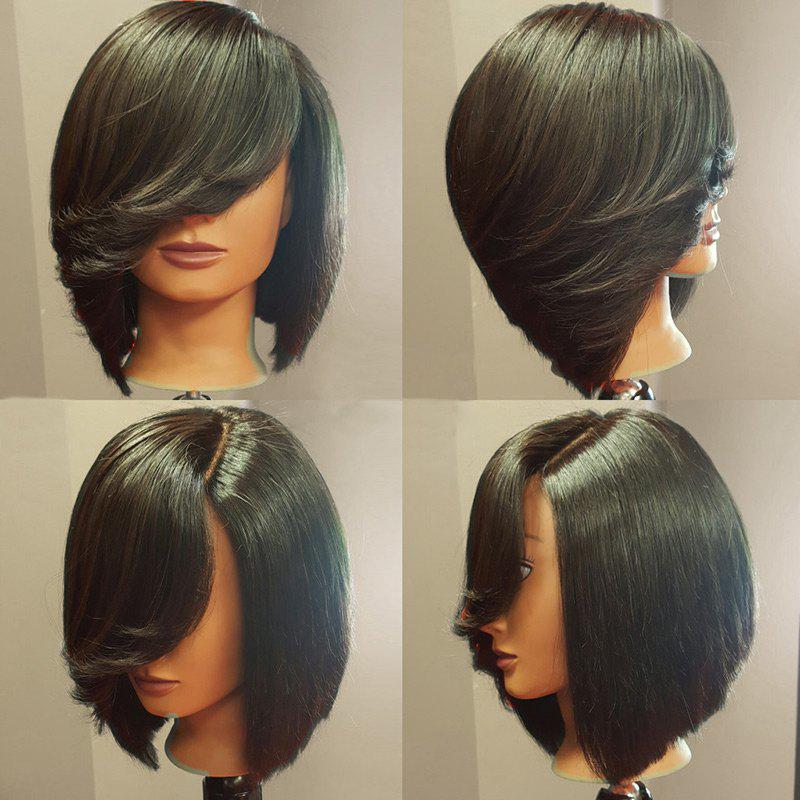Deep Side Upward Part Straight Short Inverted Bob Synthetic Wig - BLACK