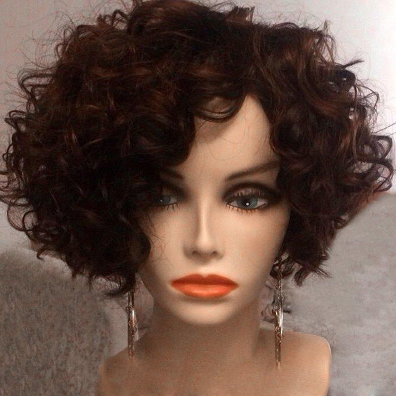 Short Oblique Bang Afro Fluffy Curly Synthetic Wig - BROWN
