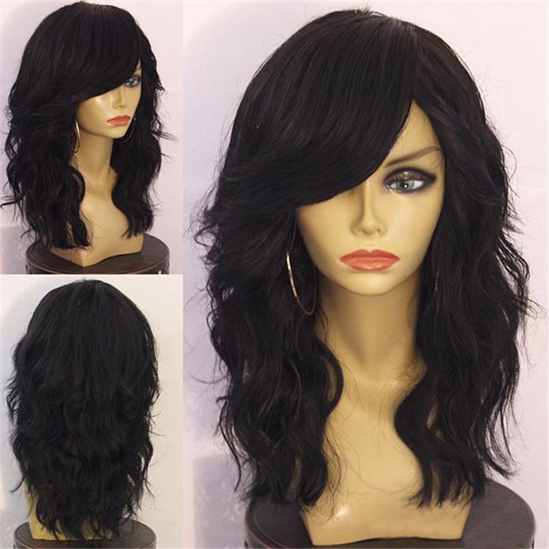 Long Side Bang Shaggy Layered Natural Wavy Synthetic Wig - BLACK