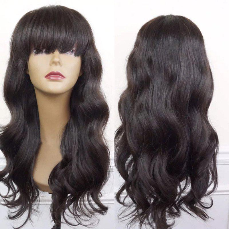 Full Bang Long Body Wave Synthetic Wig - BLACK/BROWN
