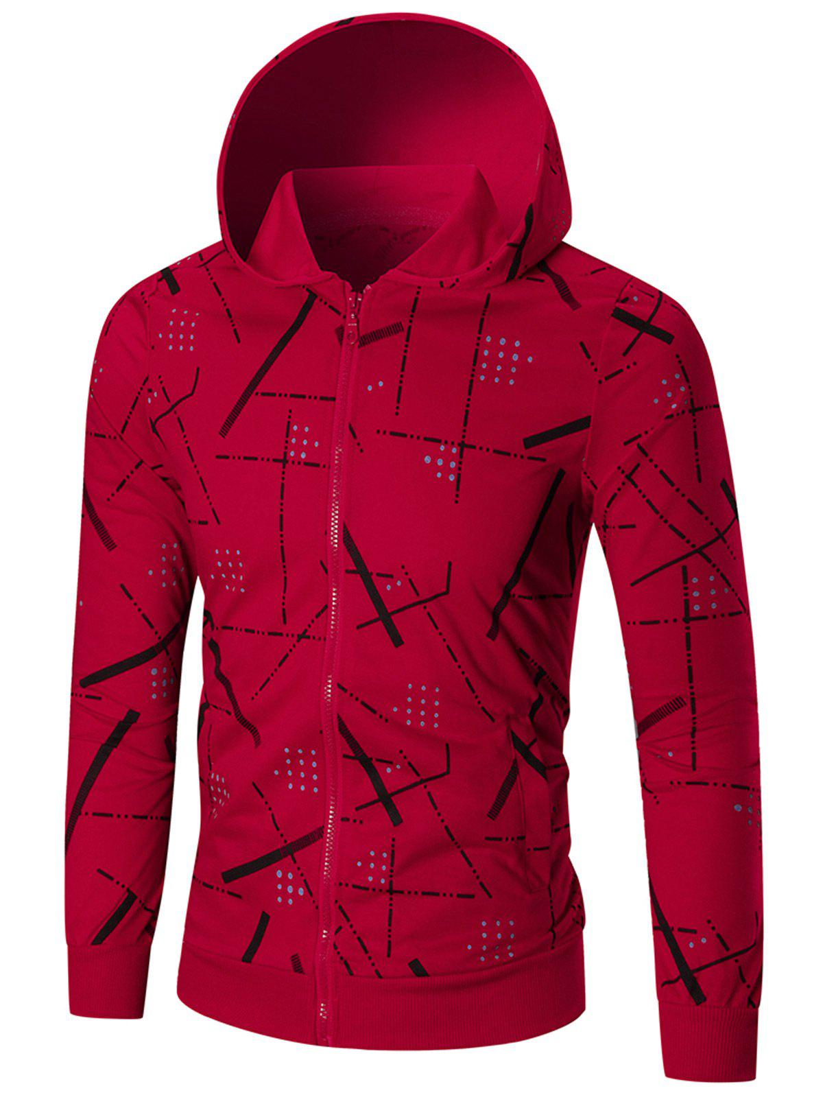 Slim Fit Printed Hoodie - RED M