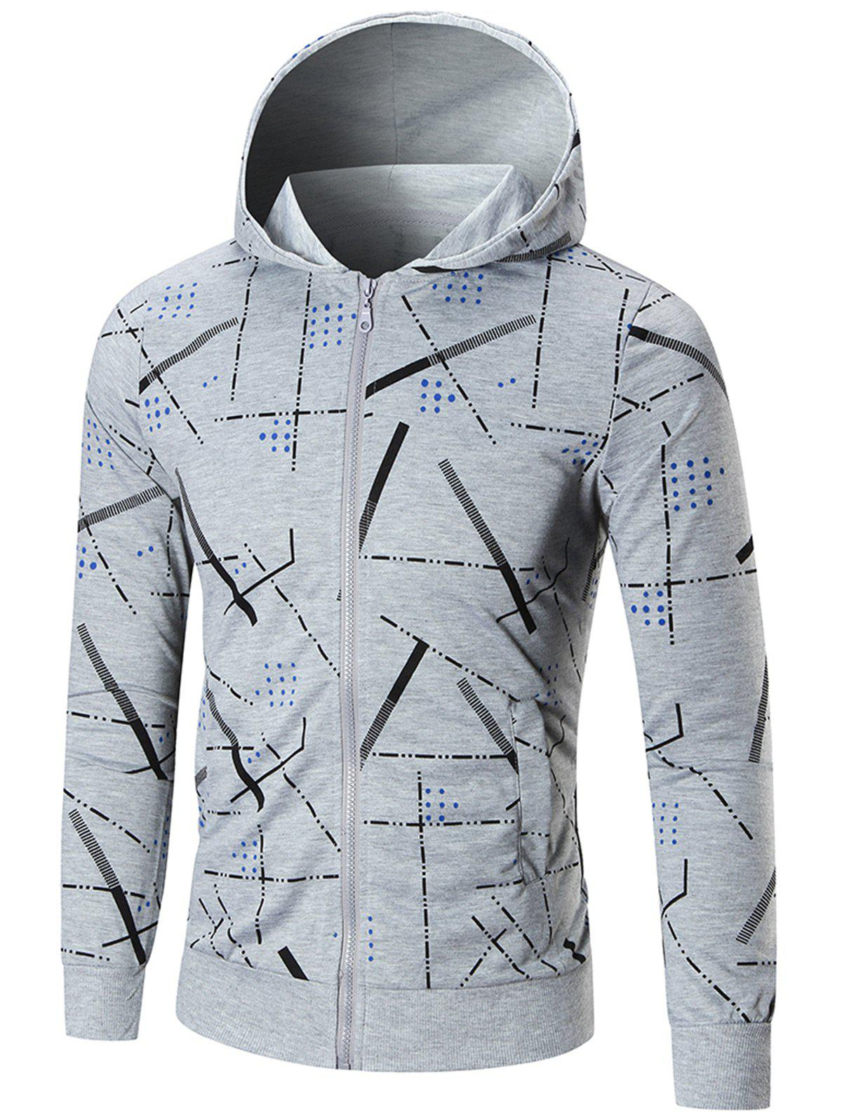 Slim Fit Printed Hoodie - GRAY 3XL