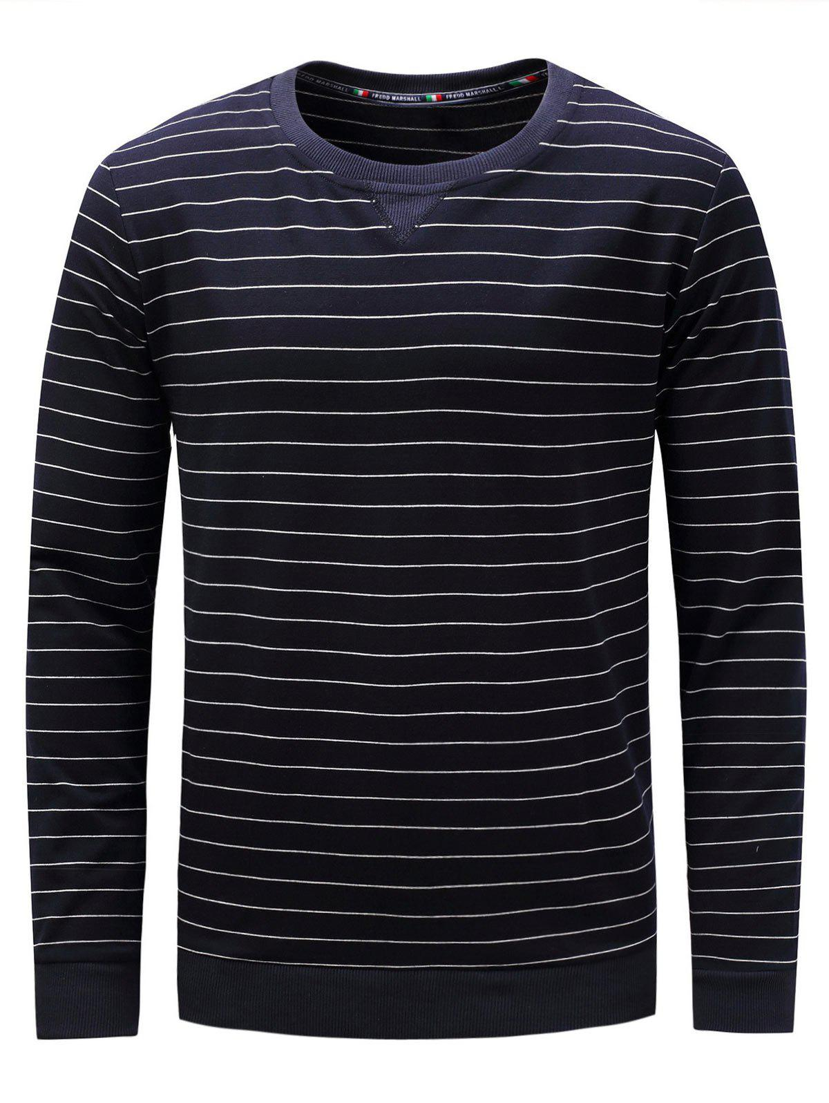 Crew Neck Long Sleeve Stripe Sweatshirt - CADETBLUE L