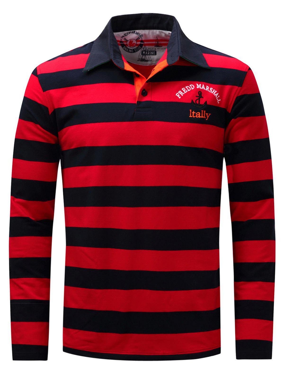Long Sleeve Stripe Anchor Embroidered T-shirt - RED M