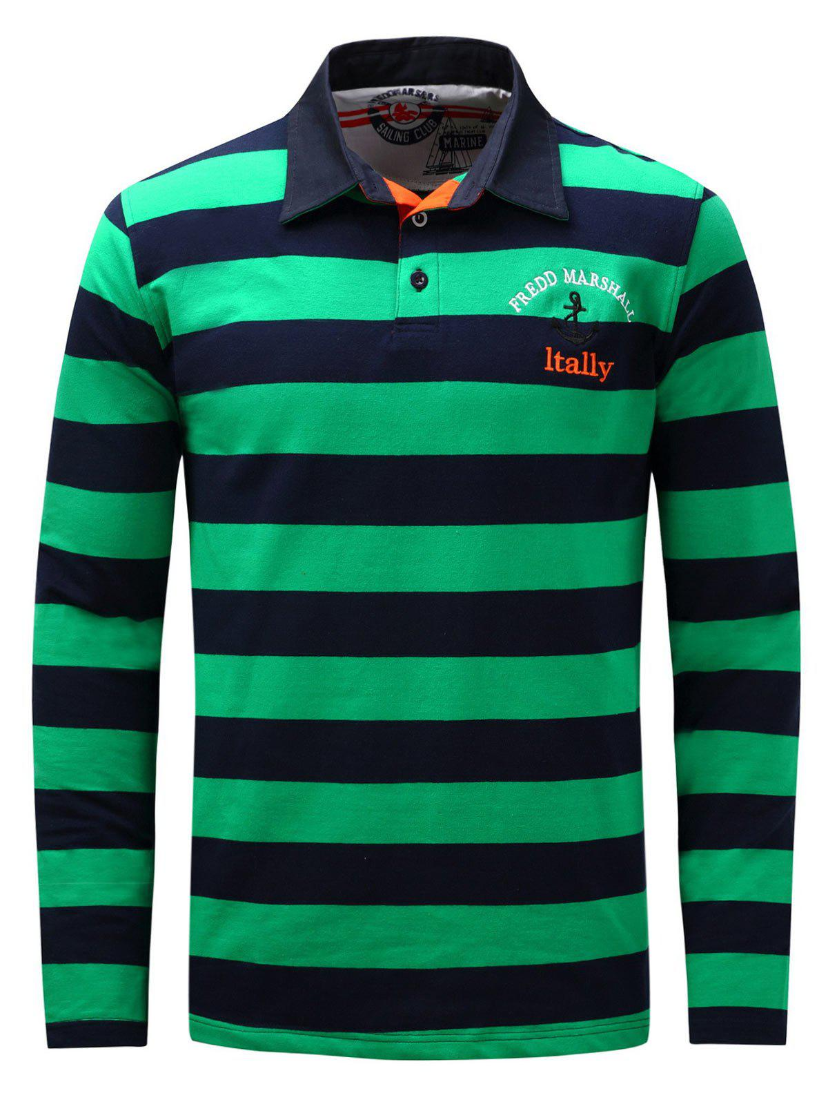 Long Sleeve Stripe Anchor Embroidered T-shirt - GREEN XL