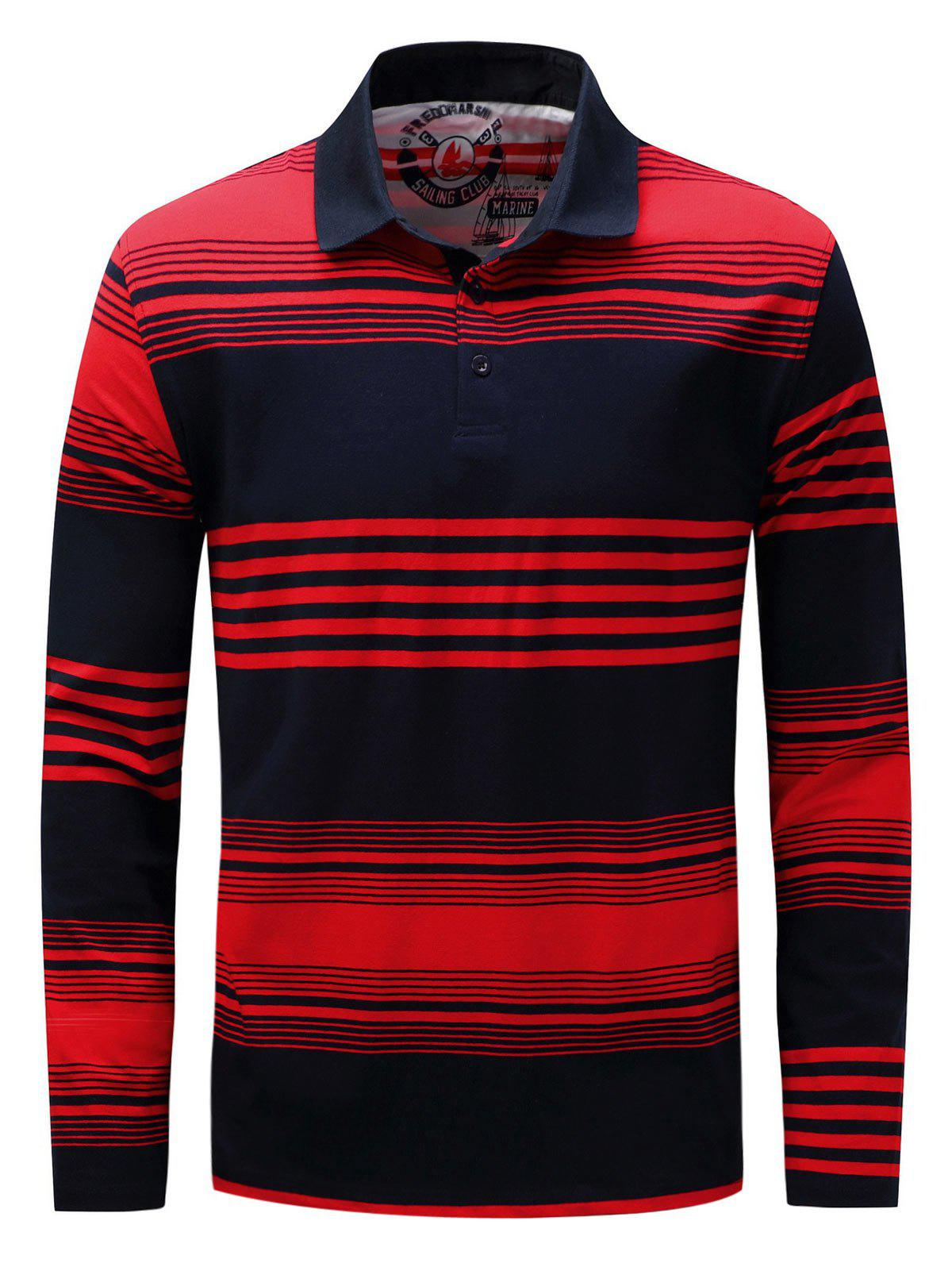 Polo Collar Stripe Long Sleeve T-shirt - BLUE/RED XL