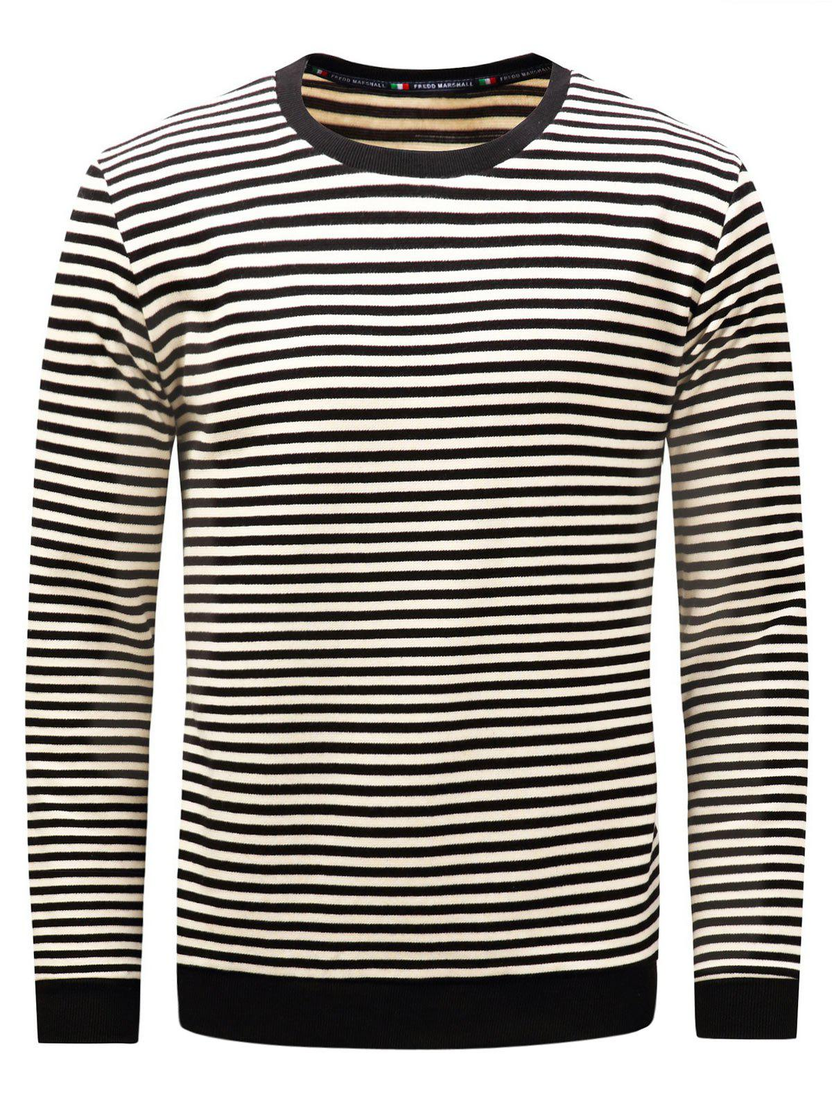 Long Sleeve Stripe Pullover Sweatshirt - BLACK 2XL