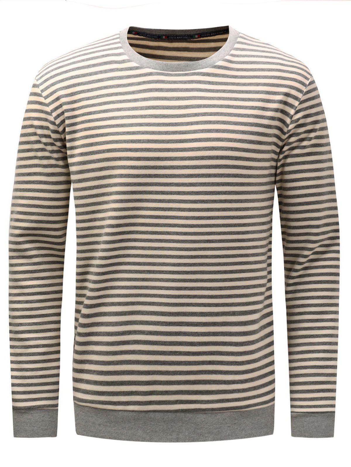 Long Sleeve Stripe Pullover Sweatshirt - GRAY XL