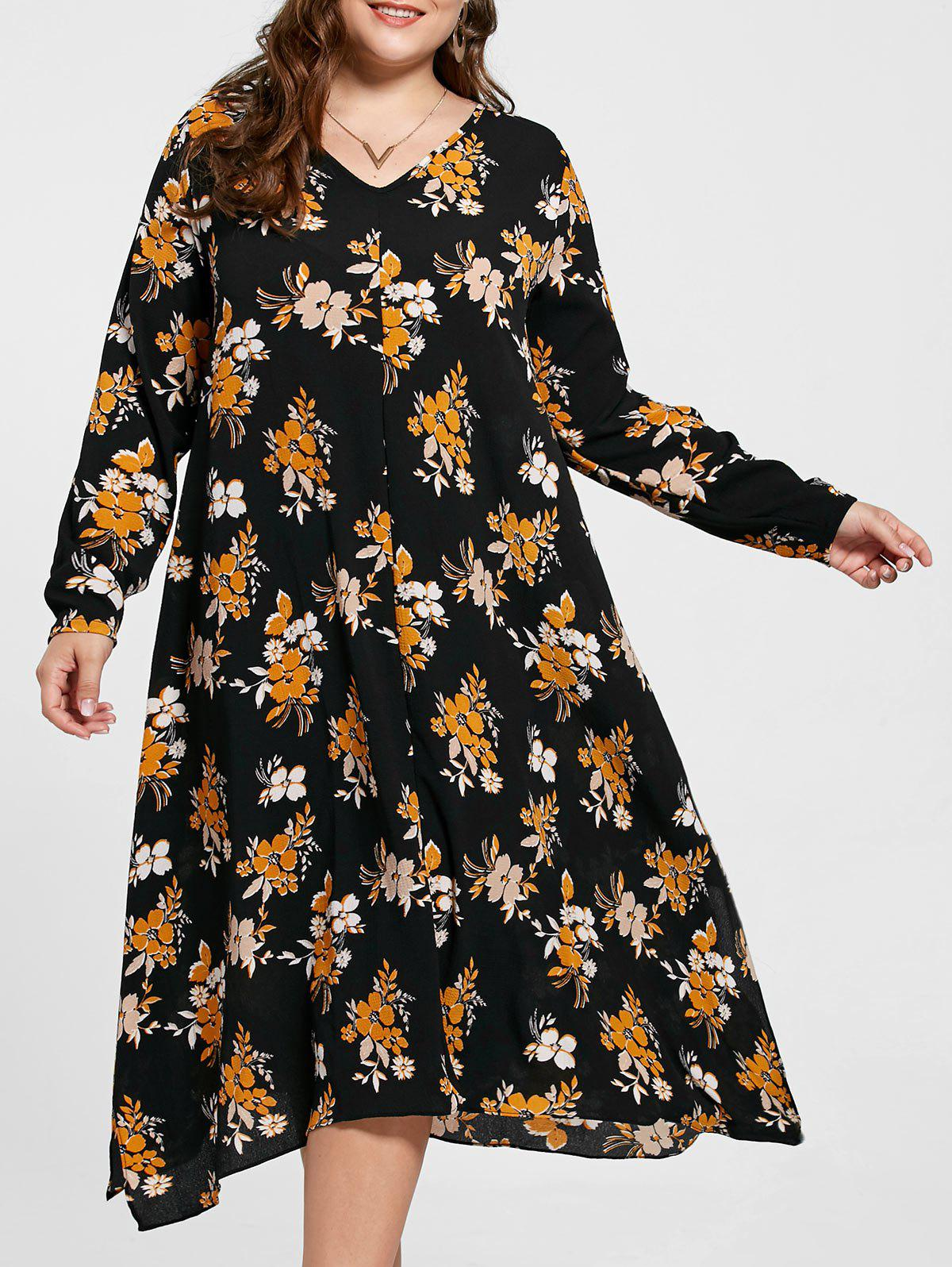 Plus Size Handkerchief Floral Print Dress - BLACK 2XL