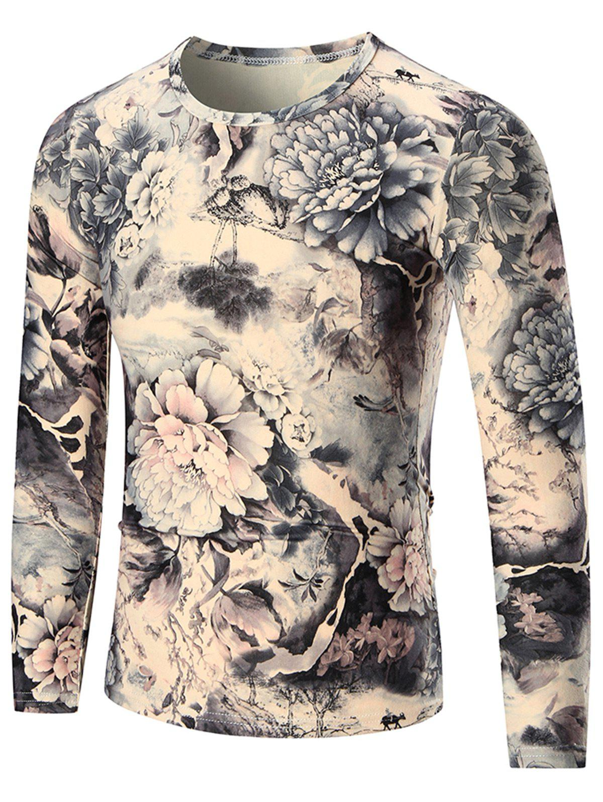 Peony Print Crewneck T-shirt à Manches Longues - multicolore 3XL