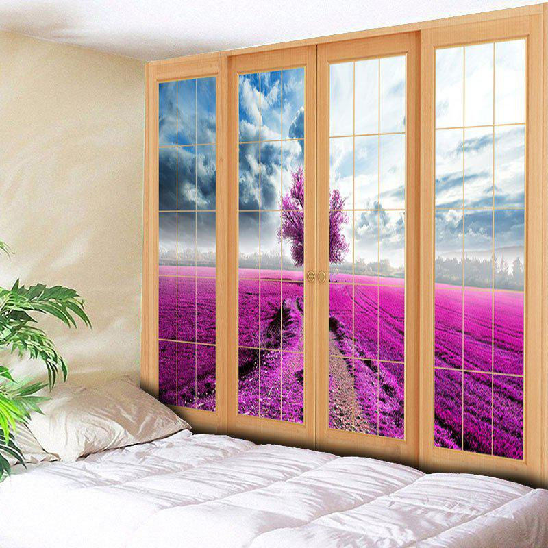 Wall Hanging Window Scenery Bedroom Tapestry - PURPLISH RED W79 INCH * L59 INCH