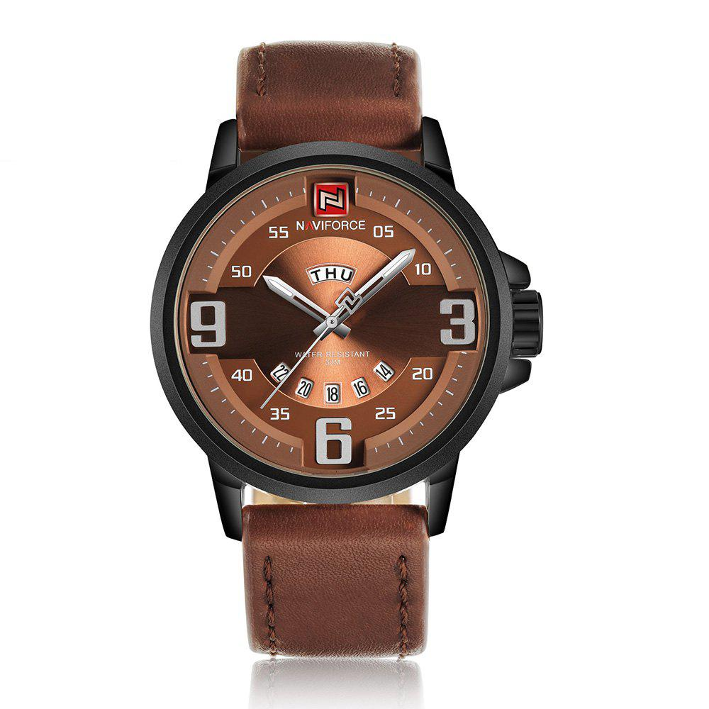 NAVIFORCE 9086 Faux Leather Date Luminous Watch - BLACK/BROWN