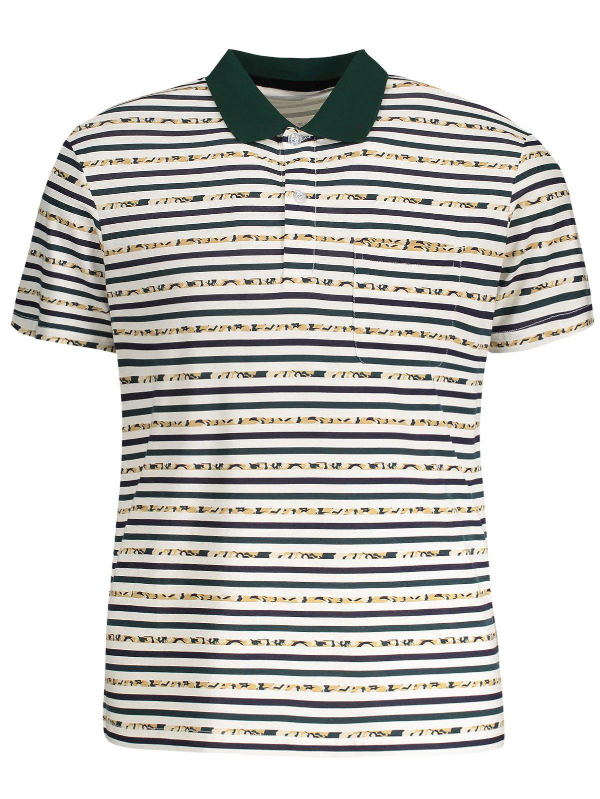 Striped Pocket Mens Polo Shirt - WHITE M