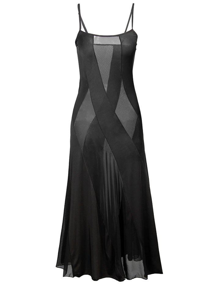 See Through Mesh Maxi Cami Dress - BLACK XL