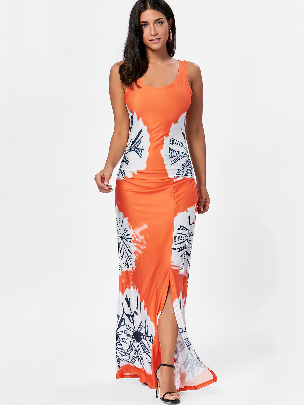 Long Slit Tie Dye Tank Dress - Mandarin L