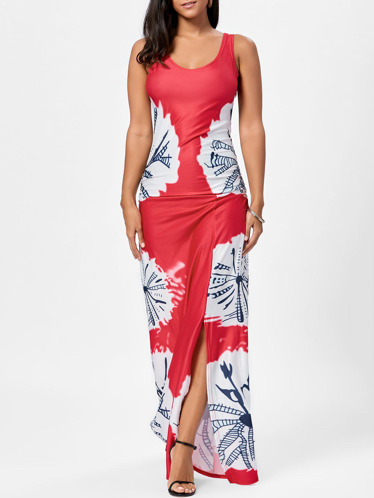 Long Slit Tie Dye Tank Dress - Rouge L