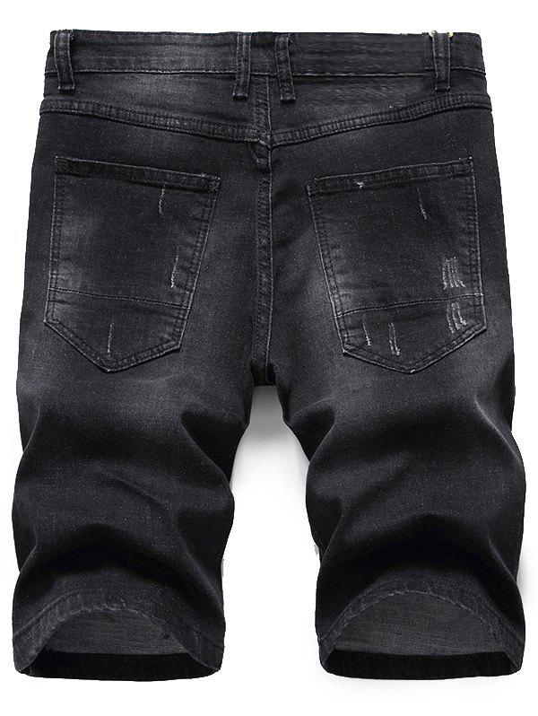 Zipper Fly Scratched Denim Shorts - BLACK GREY 38