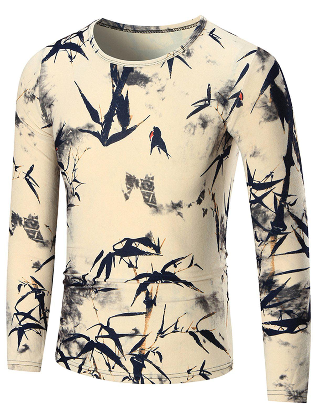 Bamboo Printed Slim Long Sleeve T-shirt - COLORMIX 3XL