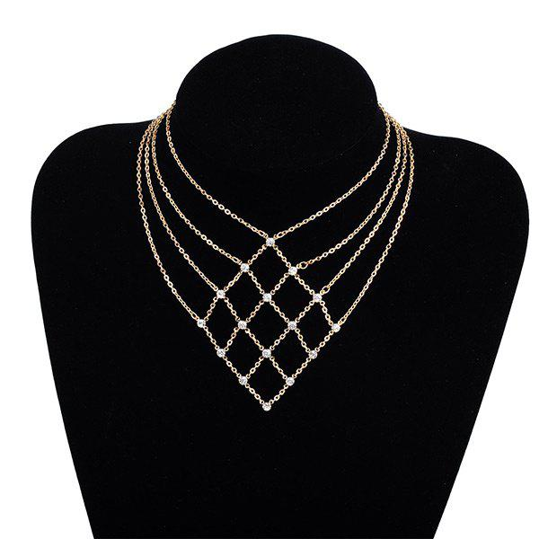 Rhinestone Geometric Statement Chain Necklace - Or