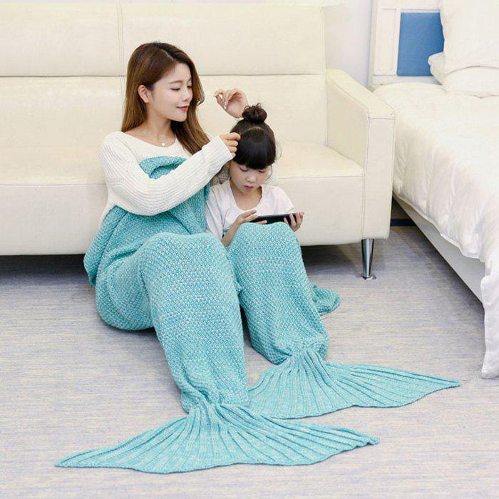 Knitted Mother and Daughter Mermaid Tail Blanket - GREEN 180*145CM