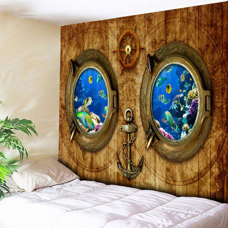 Wood Grain Submarine Print Wall Art Tapestry - WOOD COLOR W79 INCH * L59 INCH