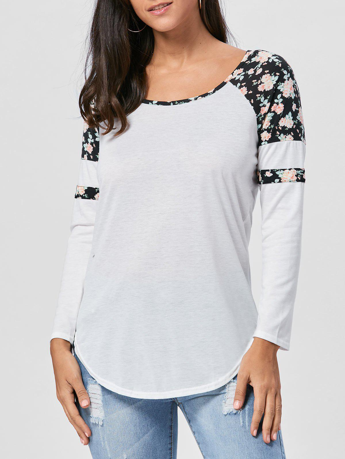 Floral Raglan Long Sleeve T-shirt - BLACK M