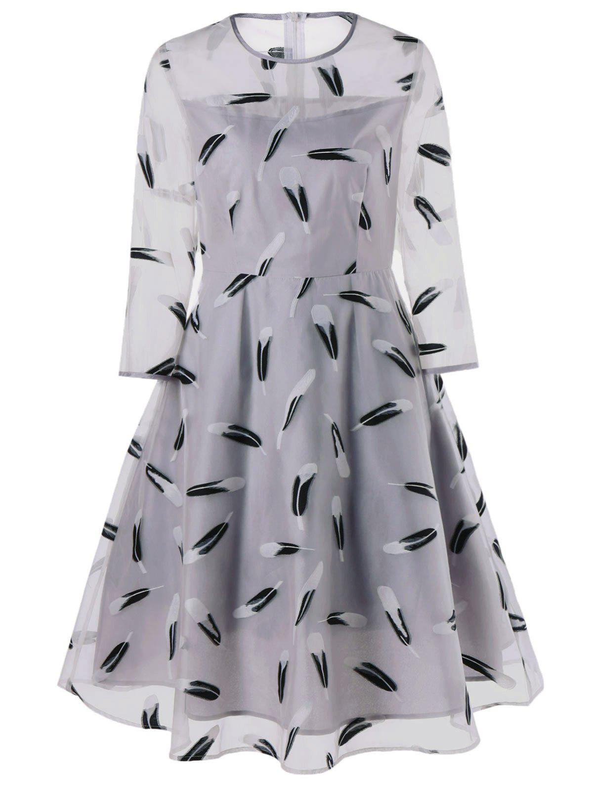 Feather Print See Thru Fit et Flare Dress - Gris XL