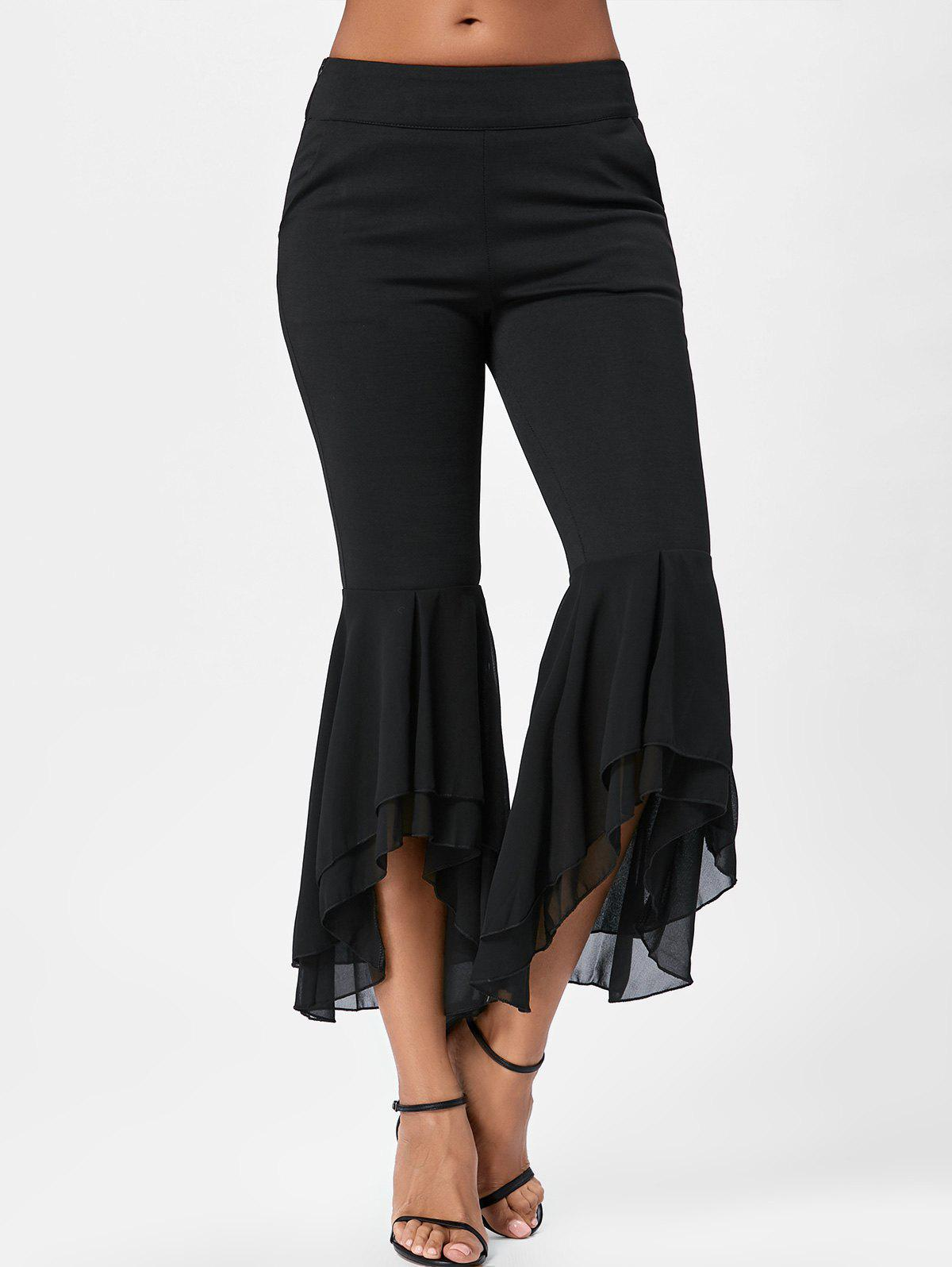 Tier Chiffon Flounce Flare Pants - BLACK XL