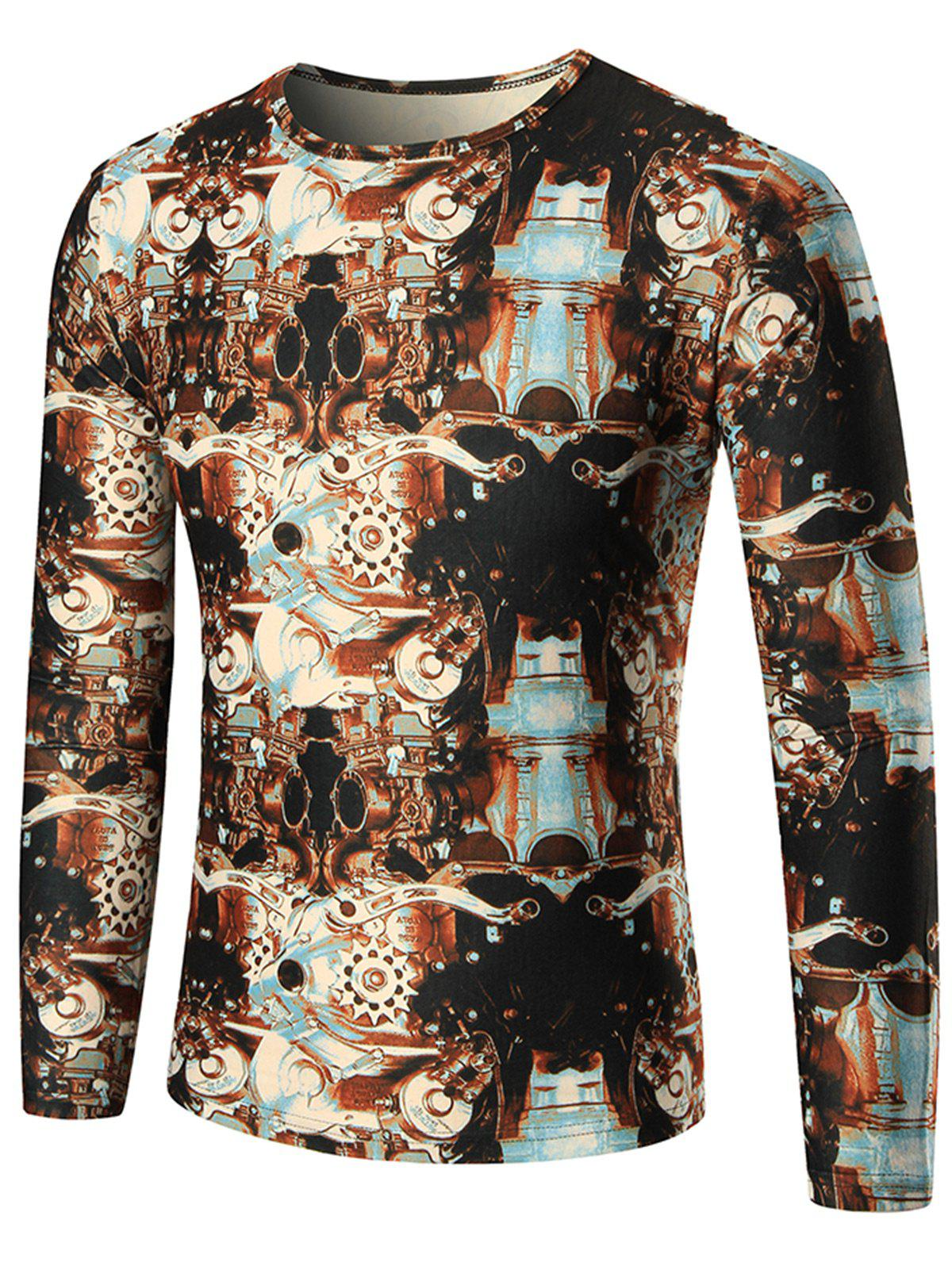 Machine Printed Long Sleeve T-shirt - COLORMIX XL