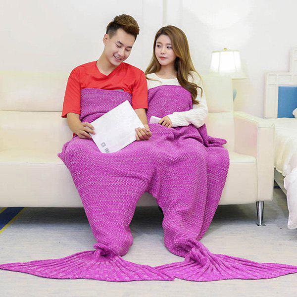 Knitted Throw Wrap Mermaid Blanket For Lovers - ROSE MADDER 180*155CM
