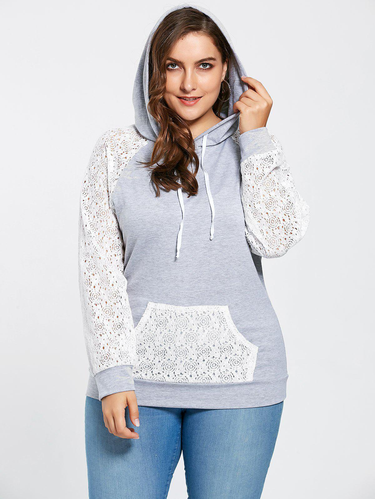 Plus Size Lace Raglan Sleeve Pocket Hoodie - GRAY XL