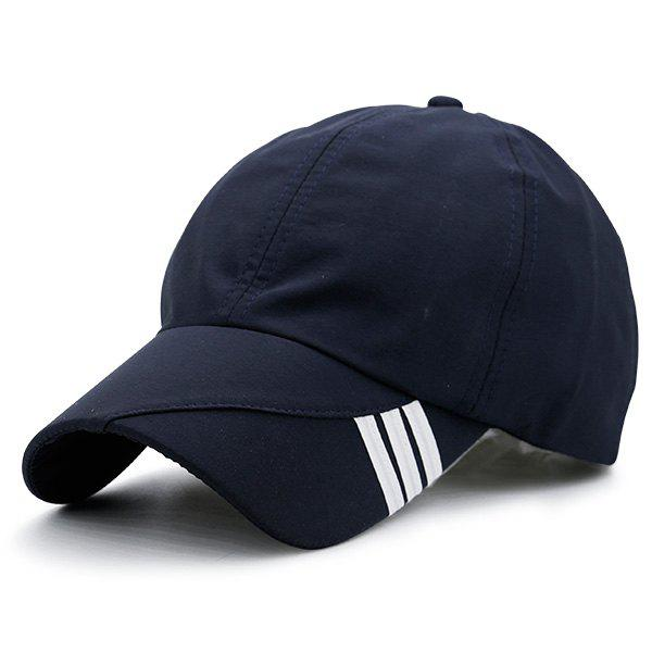 Stripe Embellished Baseball Hat - PURPLISH BLUE