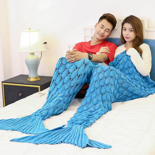 Fish Scale Knitted Pattern Mermaid Blanket For Lovers - BLUE 180*155CM