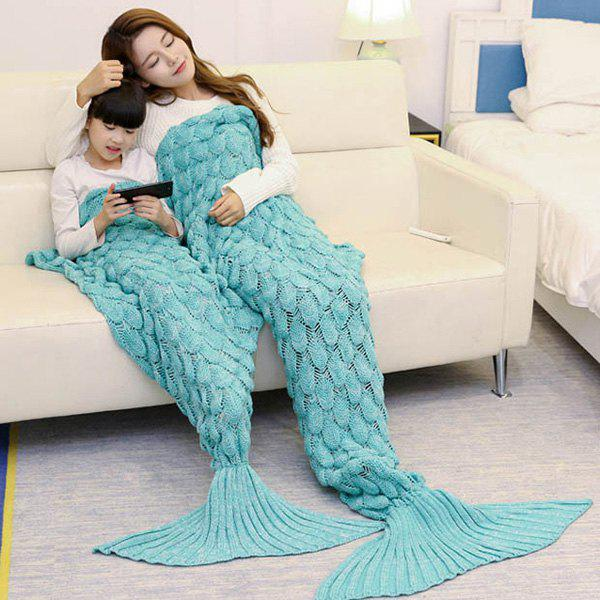 Fish Scale Pattern Parent-child Knitted Mermaid Blanket - GREEN 180*145CM