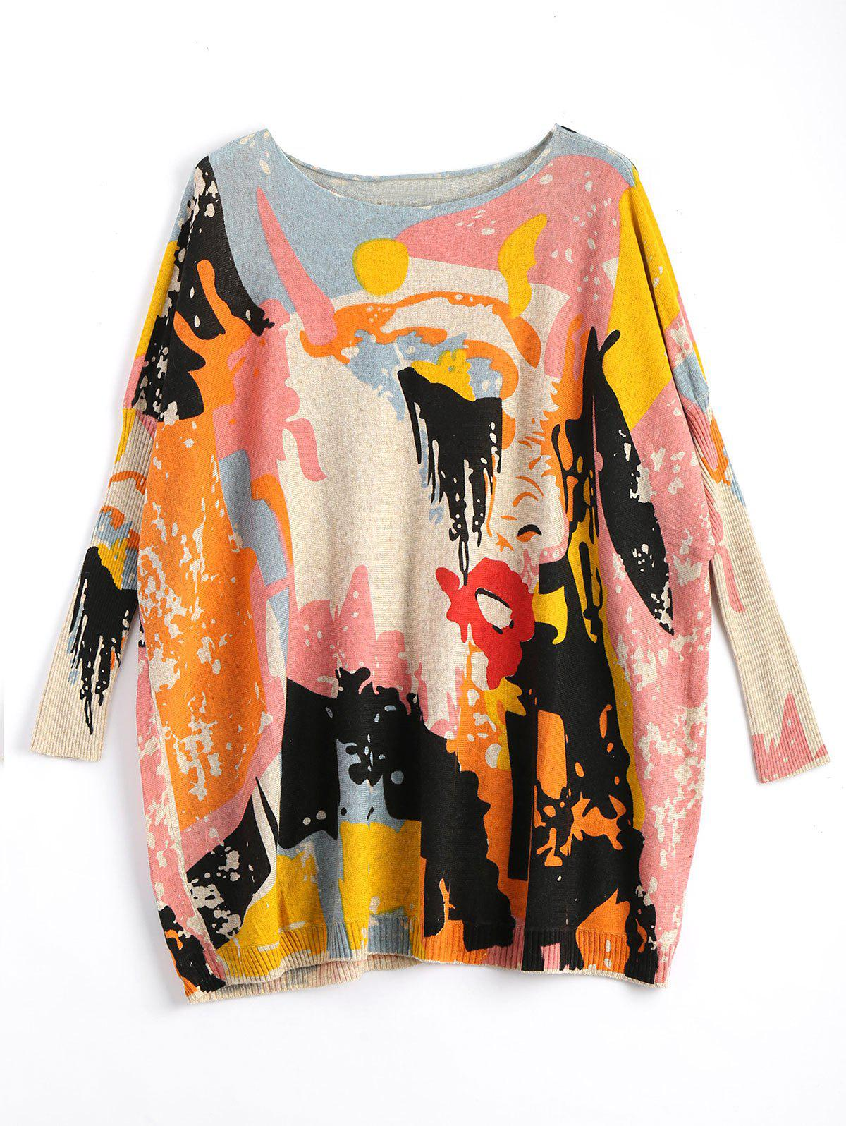 Plus Size Funny Graphic Long Sweater - APRICOT ONE SIZE