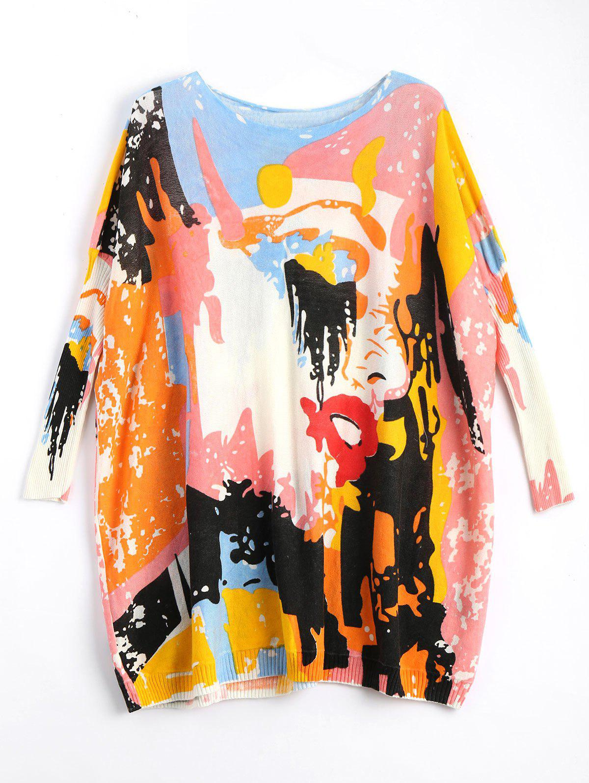 Plus Size Funny Graphic Long Sweater - OFF WHITE ONE SIZE