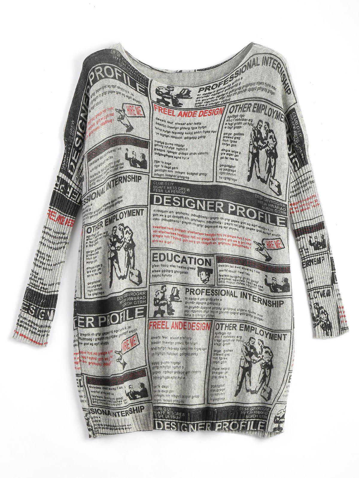 Newspaper Printed Long Vintage Plus Size Sweater - LIGHT GRAY ONE SIZE