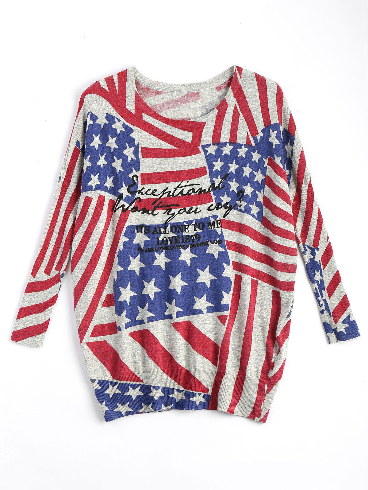 American Flag Plus Size Patriotic Knit Sweater - RED ONE SIZE