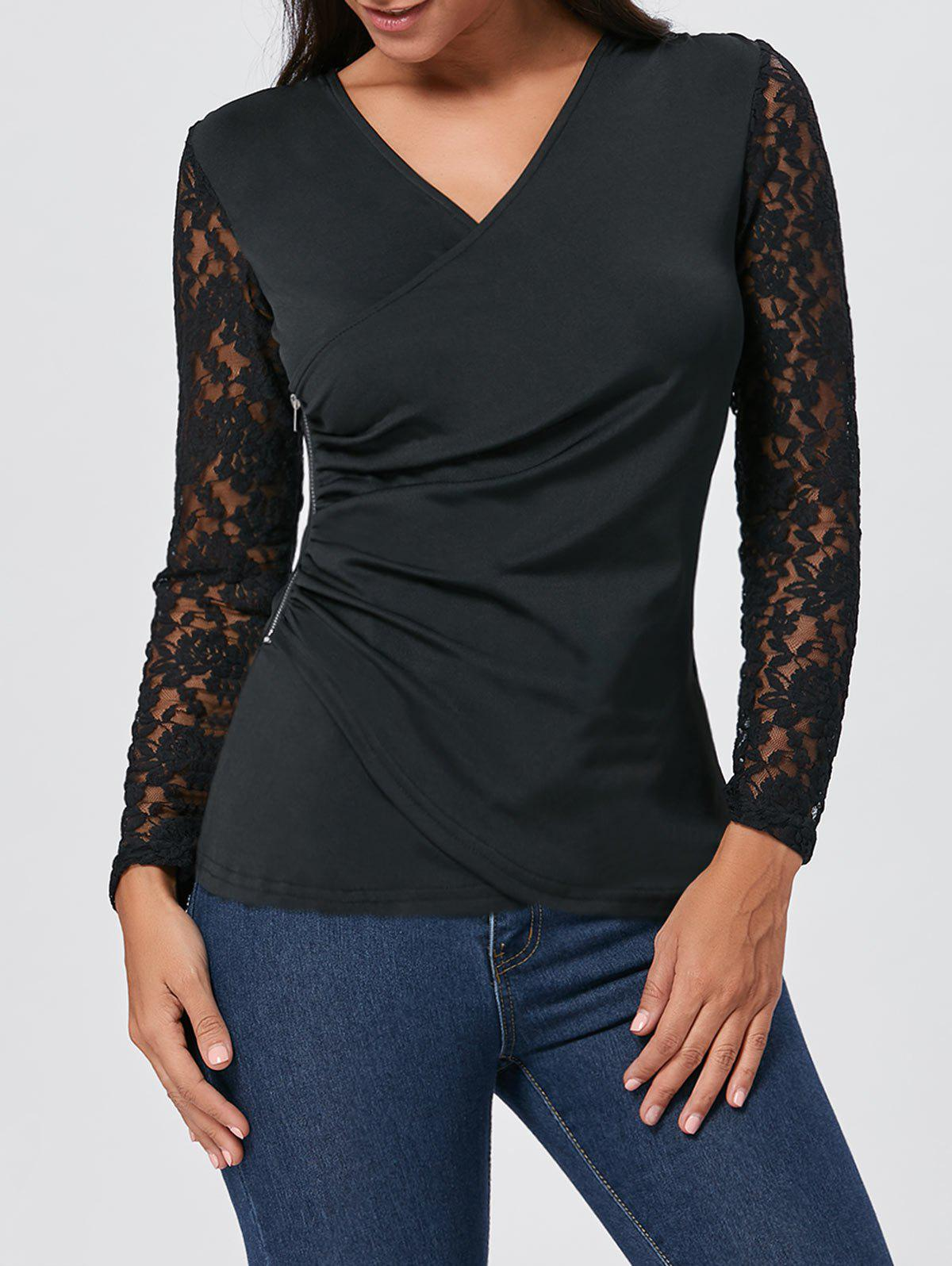 Asymmetrical Lace Insert Zipper Draped T-shirt - BLACK XL
