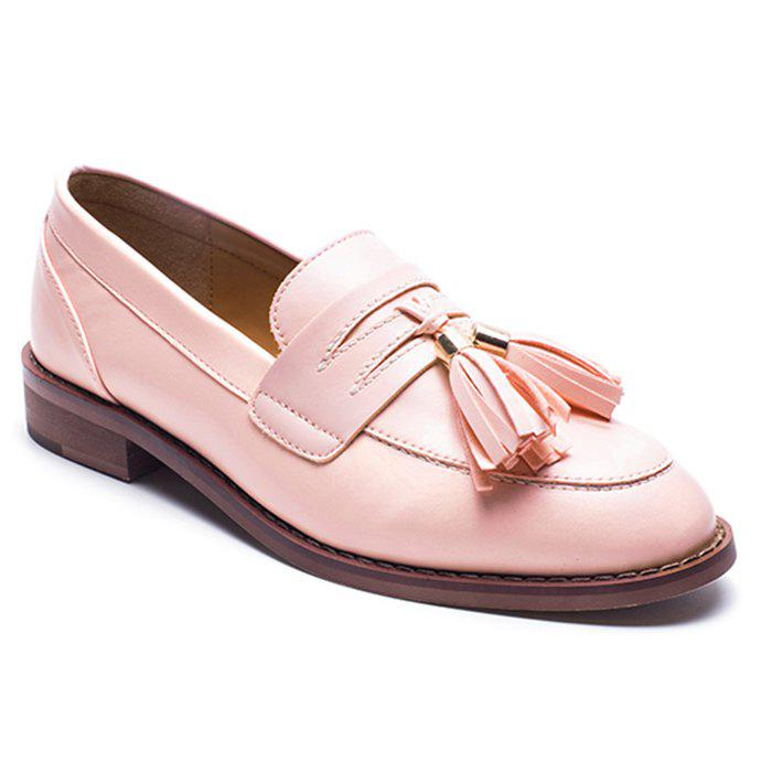 Faux Leather Tassels Flat Shoes - ROSE PÂLE 37