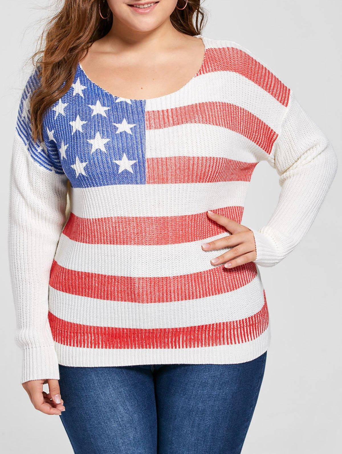Plus Size American Flag Sweater - WHITE 5XL