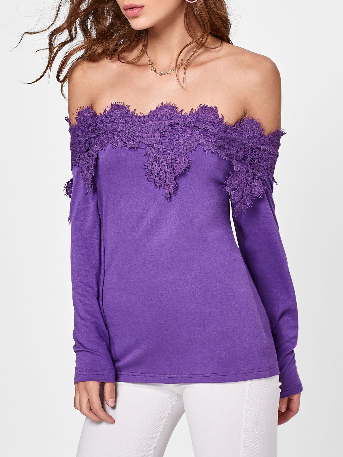 Long Sleeve Off The Shoulder Lace Insert T-shirt - PURPLE 2XL
