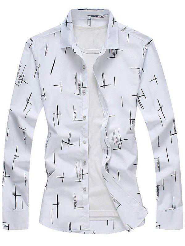 Turndown Collar Long Sleeves Print Shirt - WHITE L